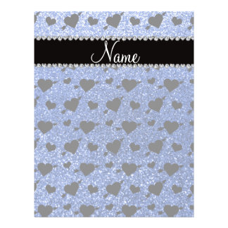 Custom name blue glitter hearts arrows personalized flyer