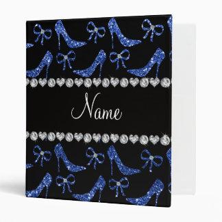 Custom name blue glitter high heels bow 3 ring binder