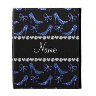 Custom name blue glitter high heels bow iPad folio covers