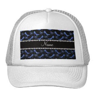 Custom name blue glitter high heels bow mesh hats