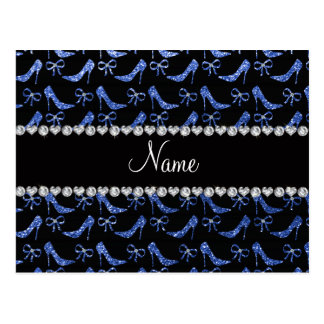 Custom name blue glitter high heels bow post cards