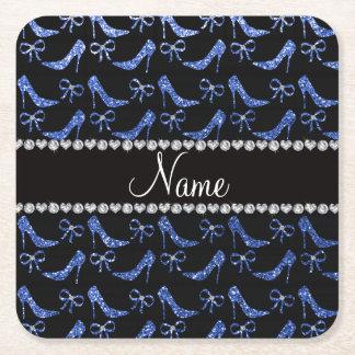 Custom name blue glitter high heels bow square paper coaster