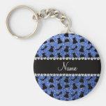 Custom name blue glitter high heels dress purse key chain