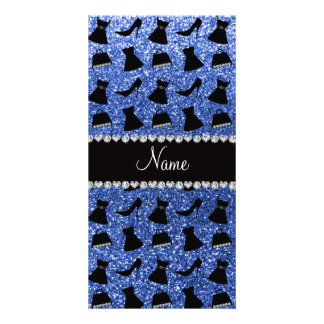 Custom name blue glitter high heels dress purse photo card