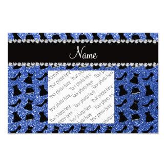 Custom name blue glitter high heels dress purse photo print