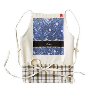 Custom name blue glitter lacrosse sticks zazzle HEART apron