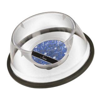 Custom name blue glitter lacrosse sticks pet bowl