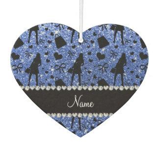 Custom name blue glitter shopping pattern