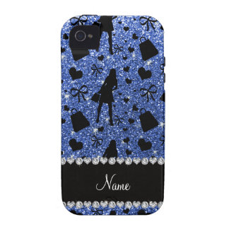 Custom name blue glitter shopping pattern vibe iPhone 4 cases