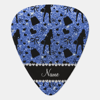 Custom name blue glitter shopping pattern pick