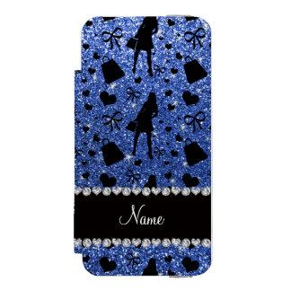 Custom name blue glitter shopping pattern incipio watson™ iPhone 5 wallet case