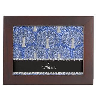 Custom name blue glitter silver tree of life memory box