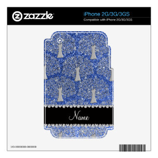 Custom name blue glitter silver tree of life decals for iPhone 3G