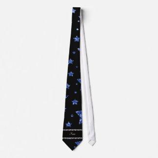 Custom name blue glitter stars and moons tie