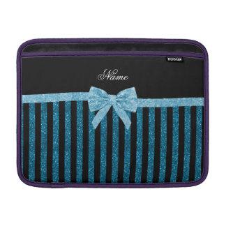 Custom name blue glitter stripes glitter bow sleeves for MacBook air
