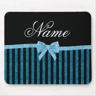 Custom name blue glitter stripes glitter bow mouse pad