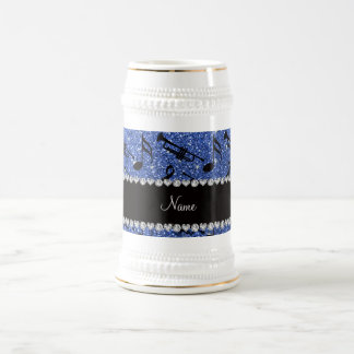 Custom name blue glitter trumpets music notes coffee mugs