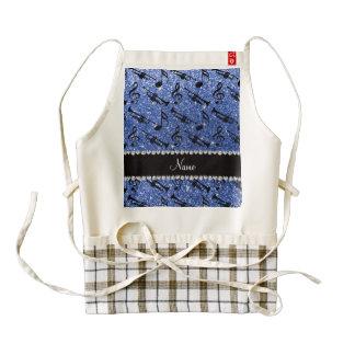 Custom name blue glitter trumpets music notes zazzle HEART apron
