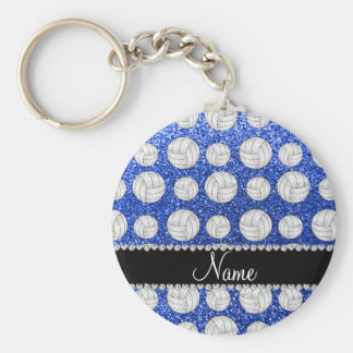 Custom name blue glitter volleyballs basic round button keychain