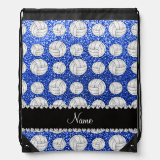 Custom name blue glitter volleyballs drawstring bags
