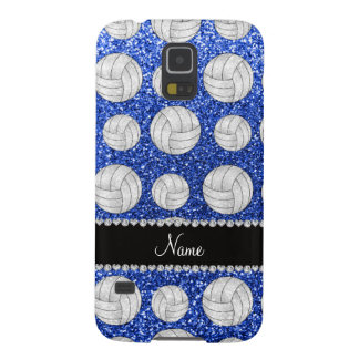 Custom name blue glitter volleyballs galaxy s5 cover