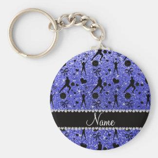 Custom name blue glitter volleyballs hearts bows basic round button keychain