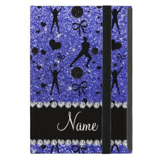Custom name blue glitter volleyballs hearts bows cover for iPad mini