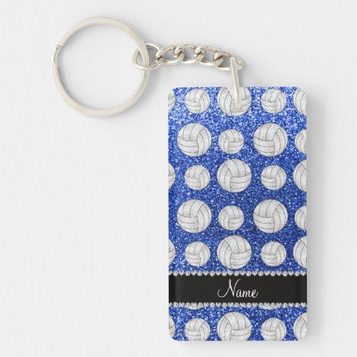 Custom name blue glitter volleyballs acrylic key chains