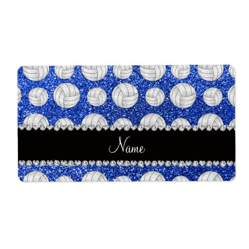 Custom name blue glitter volleyballs shipping label