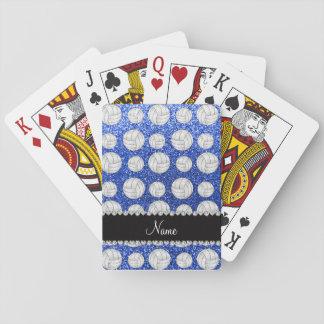 Custom name blue glitter volleyballs poker cards
