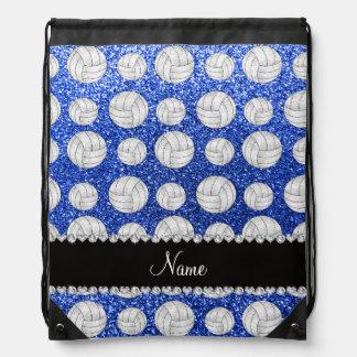 Custom name blue glitter volleyballs drawstring backpack