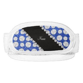 Custom name blue glitter volleyballs visors