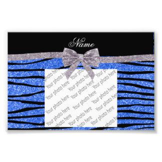 Custom name blue glitter zebra stripes bow photo art
