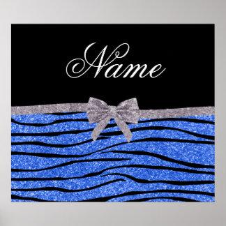 Custom name blue glitter zebra stripes bow poster