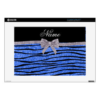 Custom name blue glitter zebra stripes bow laptop decals