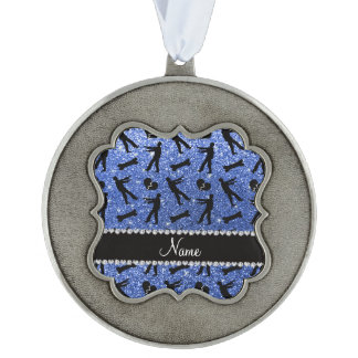 Custom name blue glitter zombies scalloped pewter christmas ornament