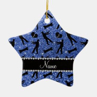 Custom name blue glitter zombies Double-Sided star ceramic christmas ornament
