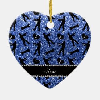 Custom name blue glitter zombies Double-Sided heart ceramic christmas ornament