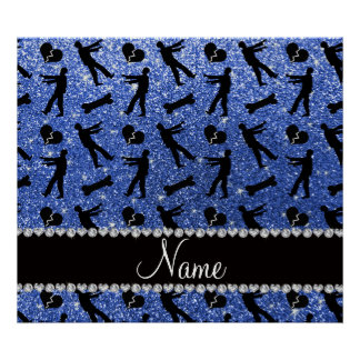 Custom name blue glitter zombies posters