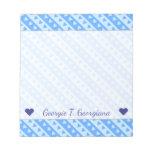 [ Thumbnail: Custom Name + Blue Hearts and Stripes Pattern Notepad ]