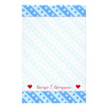 [ Thumbnail: Custom Name + Blue Hearts and Stripes Pattern Stationery ]