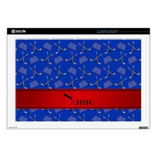 "Custom name blue hockey sticks red stripe 17"" laptop skin"
