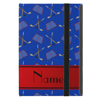 Custom name blue hockey sticks red stripe cover for iPad mini