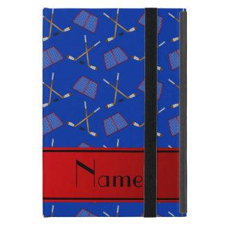 Custom name blue hockey sticks red stripe iPad mini cover