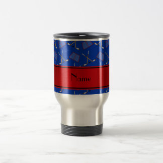 Custom name blue hockey sticks red stripe travel mug