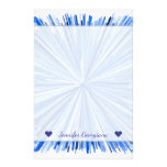 [ Thumbnail: Custom Name + Blue Line Burst Pattern Stationery ]