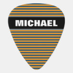 [ Thumbnail: Custom Name + Blue & Orange Stripes/Lines Pattern Guitar Pick ]