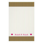 [ Thumbnail: Custom Name + Blue & Orange Stripes/Lines Pattern Stationery ]
