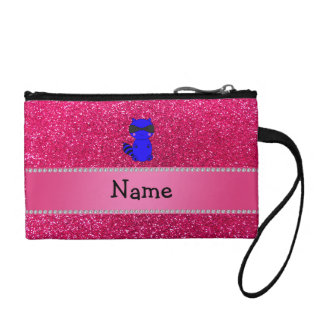Custom name blue raccoon pink glitter coin purses