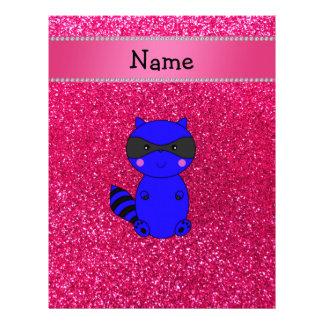 Custom name blue raccoon pink glitter personalized letterhead